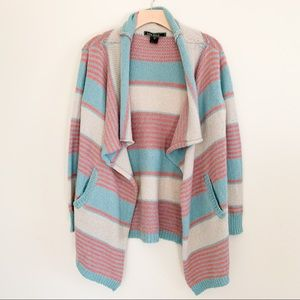 LOVE STITCH Striped Knitted Open Cardigan